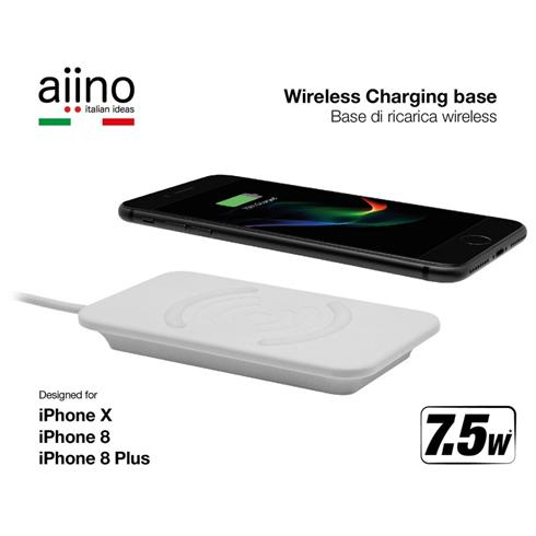 Aiino wireless QI 7,5W charger for iPhone 8/8 Plus/X Premium- white Fast charging