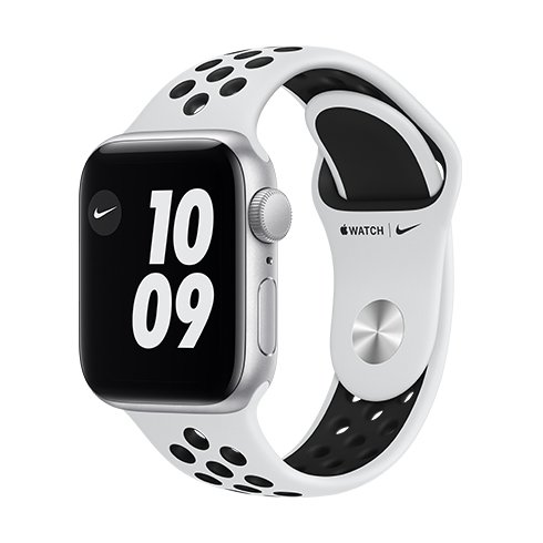 Apple Watch Nike Series 6 GPS, 40mm Silver Aluminium Case with Pure Platinum/Black Nike Sport Band - Regular