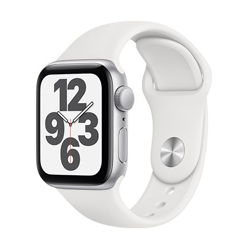 Apple Watch SE GPS, 40mm Silver Aluminium Case with White Sport Band - Regular