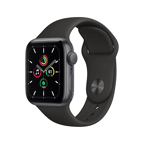 Apple Watch SE GPS, 40mm Space Gray Aluminium Case with Black Sport Band - Regular - Rozbalené