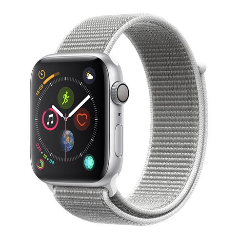 Apple Watch Series 4 GPS, 44mm Silver Aluminium Case with Seashell Sport Loop