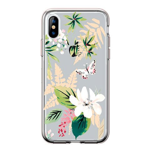 Comma kryt Butterfly Crystal Flower Series pre iPhone XS - White