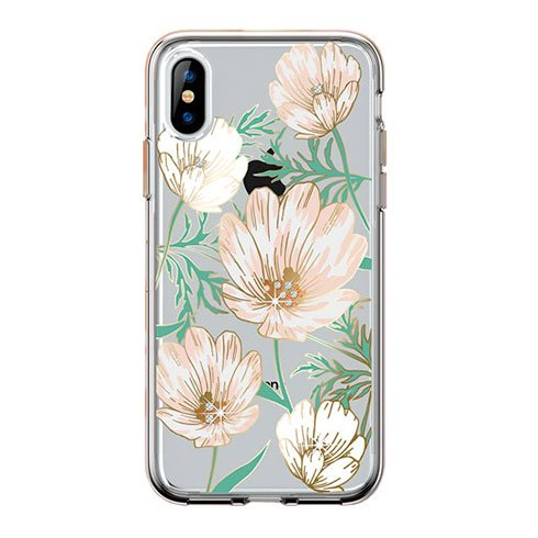 Comma kryt Magnolia Crystal Flower Series pre iPhone XS - White