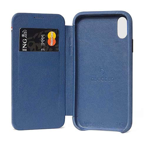 Decoded puzdro Leather Slim Wallet Case pre iPhone XR - Blue