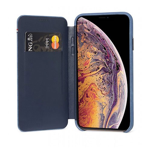 Decoded puzdro Leather Slim Wallet Case pre iPhone XS Max - Blue