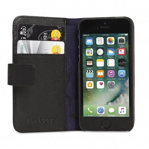 Decoded puzdro Leather Wallet Case pre iPhone SE - Black