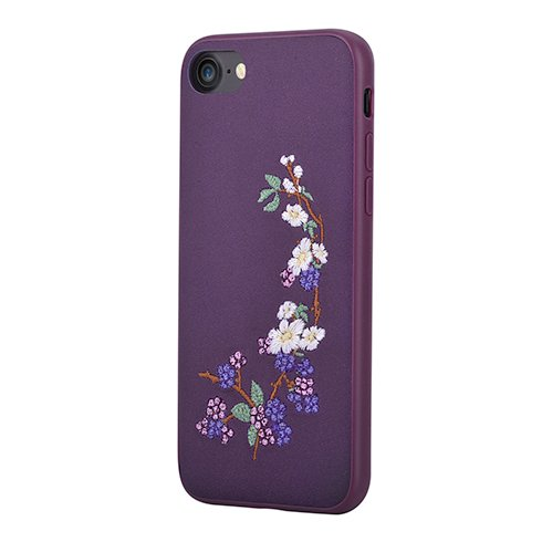 Devia kryt Flower Embroidery 2 pre iPhone 7/8 - Purple