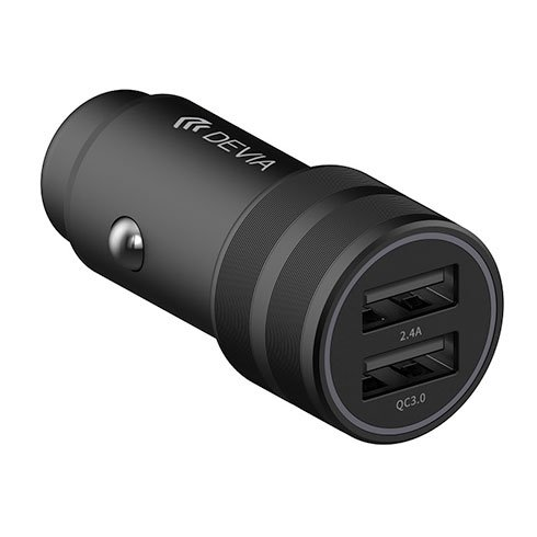 Devia nabíjačka do auta Traveller Series 2ports QC 3.0/2.4A, 30W - Black