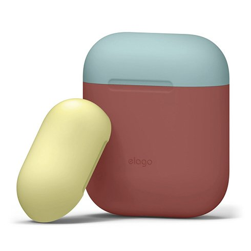 Elago Airpods Silicone Duo Case - Italian Rose/ Coral Blue, Yellow