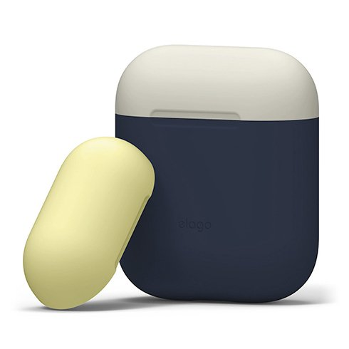 Elago Airpods Silicone Duo Case - Jeans Indigo/ White, Yellow