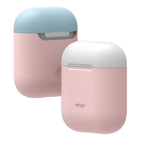 Elago Airpods Silicone Duo Case - Pink/ White, Pastel Blue