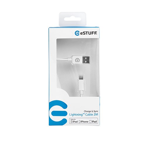 eSTUFF kábel lightning to USB 2m - White