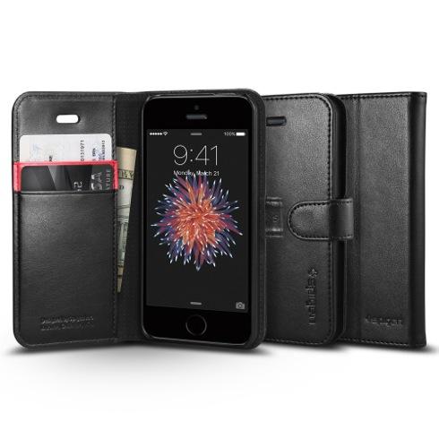Spigen puzdro Wallet S pre iPhone SE - Black  3e7718481a2