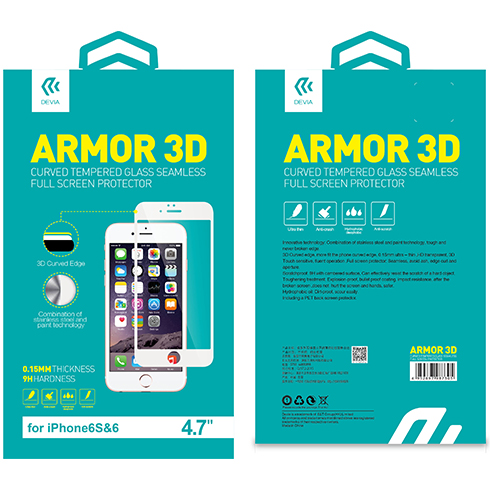 JCPAL 3D Glass Screen Protector ( 0.26mm , White) for iPhone 6 / 6s
