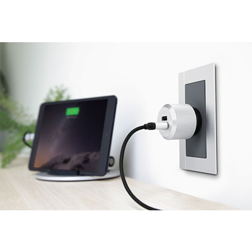 Just Mobile AC charger AluPlug ( 2 x 2.4A ) - Silv