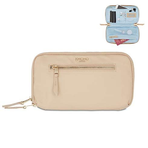 Knomo puzdro Knomad Travel Wallet - Trench Beige/Gold Hardware