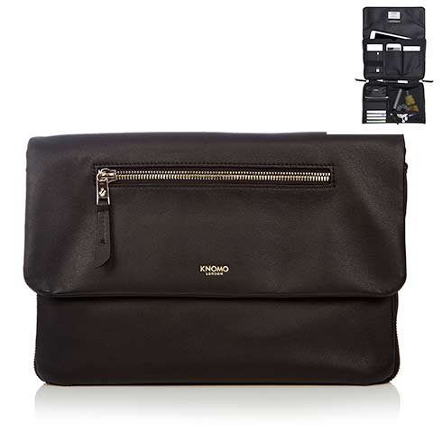 "Knomo taška Elektronista Cross-Body 10"" - Black Leather"