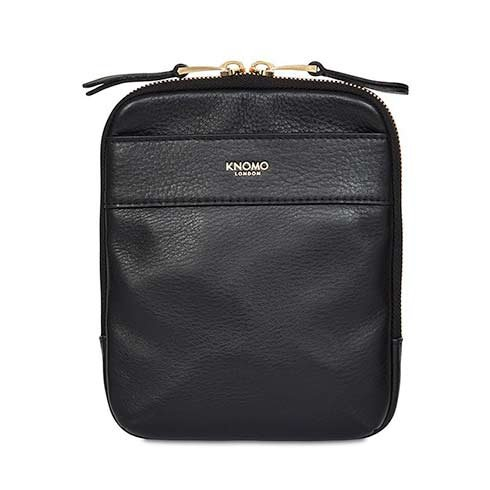 Knomo taška Rex Leather Cross-Body - Black/Gold Hardware