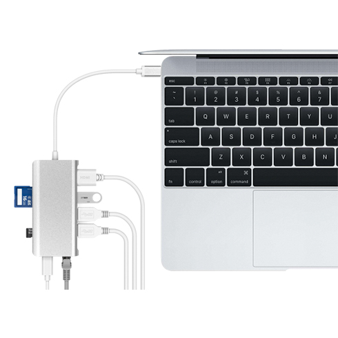 LMP USB-C mini Dock 8-port - Silver Aluminium