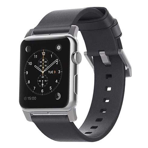 Nomad kožený náramok pre Apple Watch 42 44 mm - Modern Slate Gray Silver 58f1a140f22