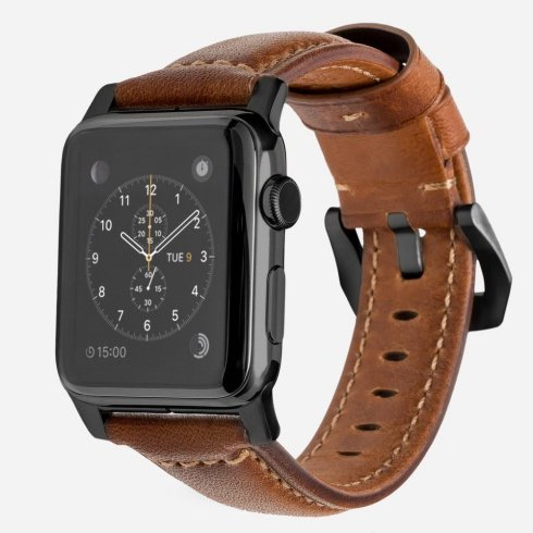 Nomad kožený náramok pre Apple Watch 42/44 mm - Traditional Brown/Black Hardware