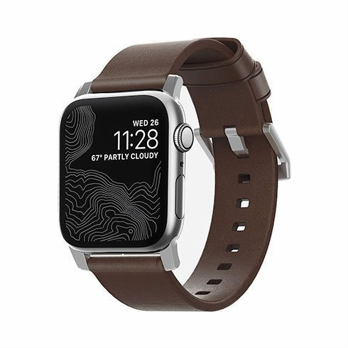 Nomad kožený remienok pre Apple Watch 38/40 mm - Modern Brown/Silver Hardware