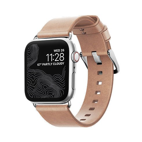 Nomad kožený remienok pre Apple Watch 38/40 mm - Modern Natural/Silver Hardware