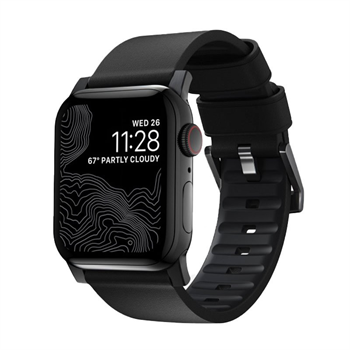 Nomad kožený remienok pre Apple Watch 42/44 mm - Active Black/Black Hardware