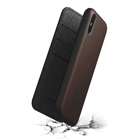 Nomad puzdro Rugged Folio pre iPhone XS/X - Rustic Brown Leather