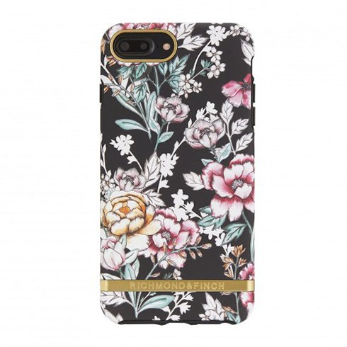 Richmond & Finch kryt Black Floral pre iPhone 8 Plus/7 Plus - Gold Details