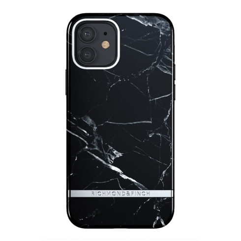 Richmond & Finch kryt Black Marble pre iPhone 12/12 Pro - Silver Details