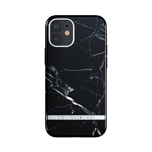 Richmond & Finch kryt Black Marble pre iPhone 12 mini - Silver Details