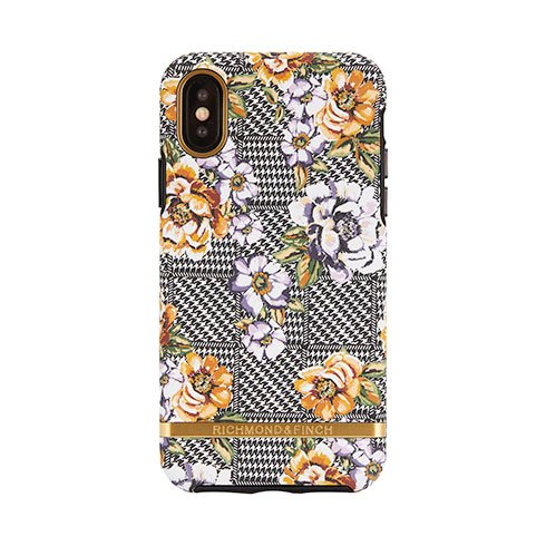 Richmond & Finch kryt Floral Tweed pre iPhone XS/X - Gold Details