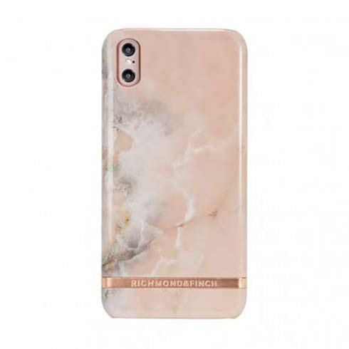 Richmond & Finch kryt Pink Marble pre iPhone X/XS - Rose Gold Details