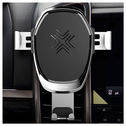 Rock Gravity Wireless Car Charger 10W - Silver Aluminium