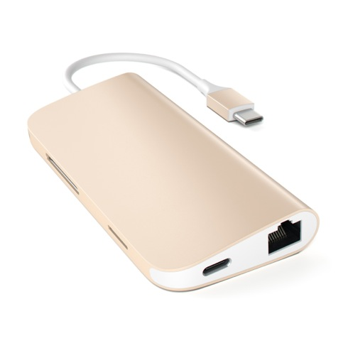 Satechi USB-C Multiport adaptér 4K 8ports - Gold Aluminium