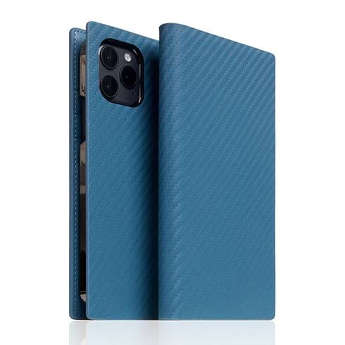 SLG Design puzdro D+ Italian Carbon Leather Diary pre iPhone 12/12 Pro - Blue