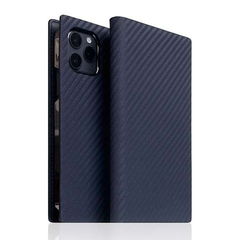 SLG Design puzdro D+ Italian Carbon Leather Diary pre iPhone 12/12 Pro - Navy