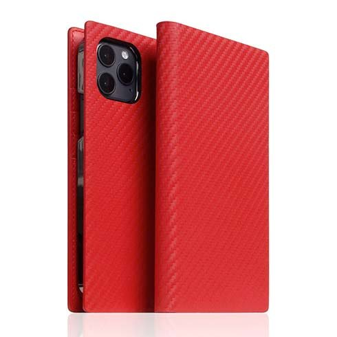 SLG Design puzdro D+ Italian Carbon Leather Diary pre iPhone 12/12 Pro - Red