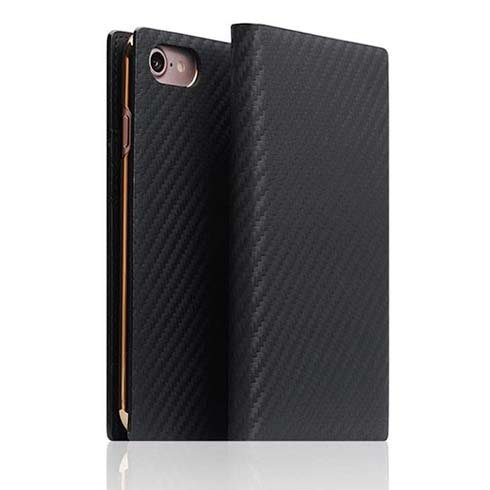SLG Design puzdro D+ Italian Carbon Leather Diary pre iPhone 7/8/SE 2020 - Black