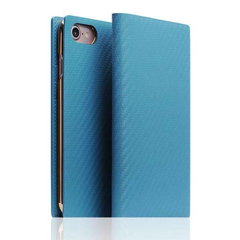 SLG Design puzdro D+ Italian Carbon Leather Diary pre iPhone 7/8/SE 2020 - Blue