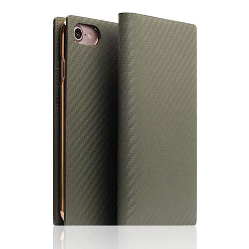 SLG Design puzdro D+ Italian Carbon Leather Diary pre iPhone 7/8/SE 2020 - Khaki