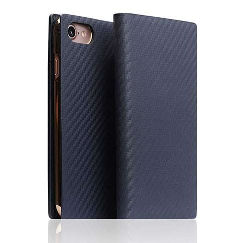 SLG Design puzdro D+ Italian Carbon Leather Diary pre iPhone 7/8/SE 2020 - Navy