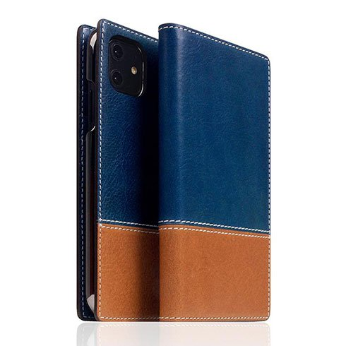 SLG Design puzdro D+ Italian Temponata Leather pre iPhone 11 - Blue Tan