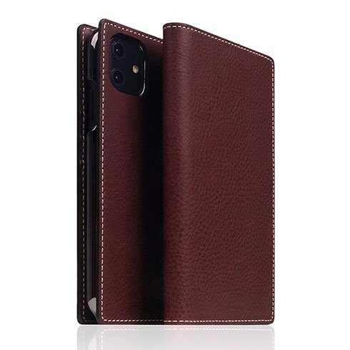 SLG Design puzdro D6 Italian Minerva Box Leather pre iPhone 11 - Brown