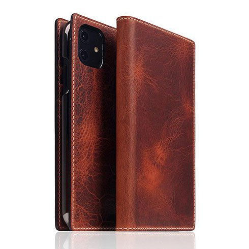 SLG Design puzdro D7 Italian Wax Leather pre iPhone 11 - Brown