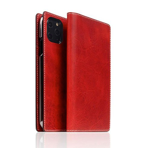 SLG Design puzdro D7 Italian Wax Leather pre iPhone 11 Pro - Red