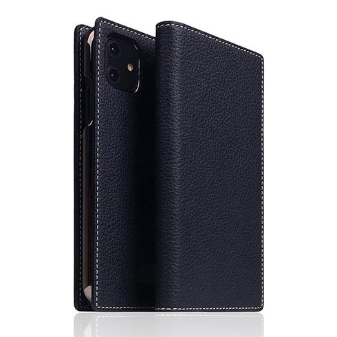 SLG Design puzdro D8 Full Grain Leather pre iPhone 11 - Black Blue
