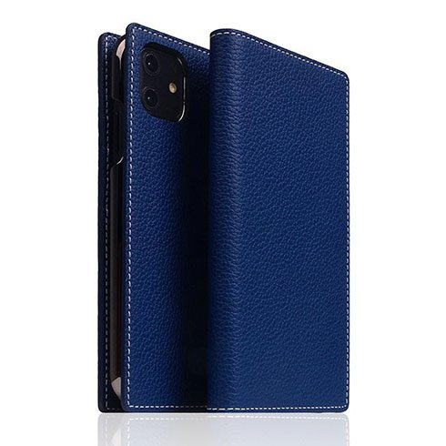 SLG Design puzdro D8 Full Grain Leather pre iPhone 11 - Navy Blue
