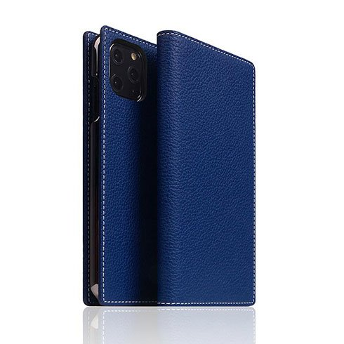 SLG Design puzdro D8 Full Grain Leather pre iPhone 11 Pro - Navy Blue